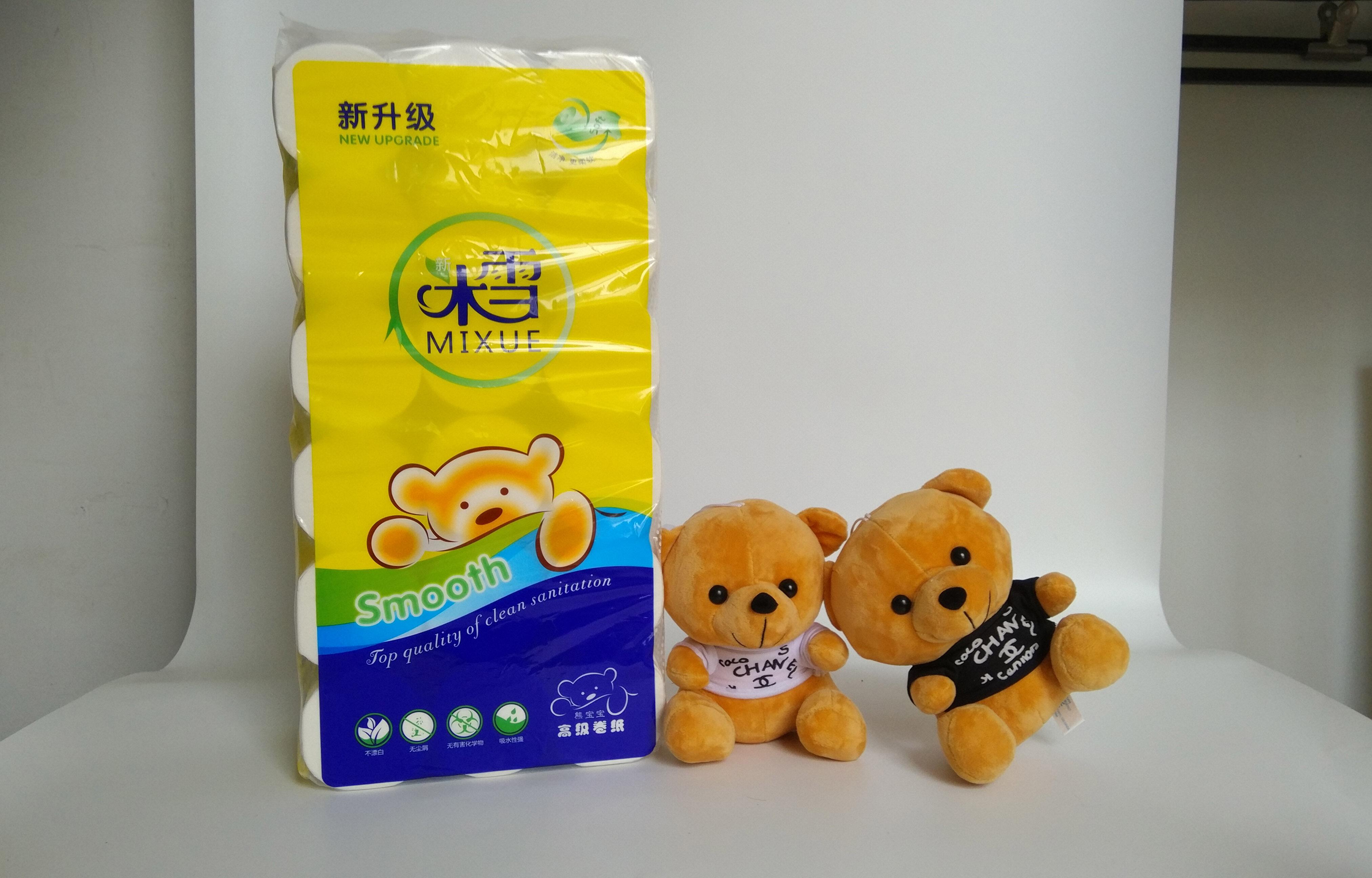2000g米雪宝宝熊长条实芯卷纸18卷